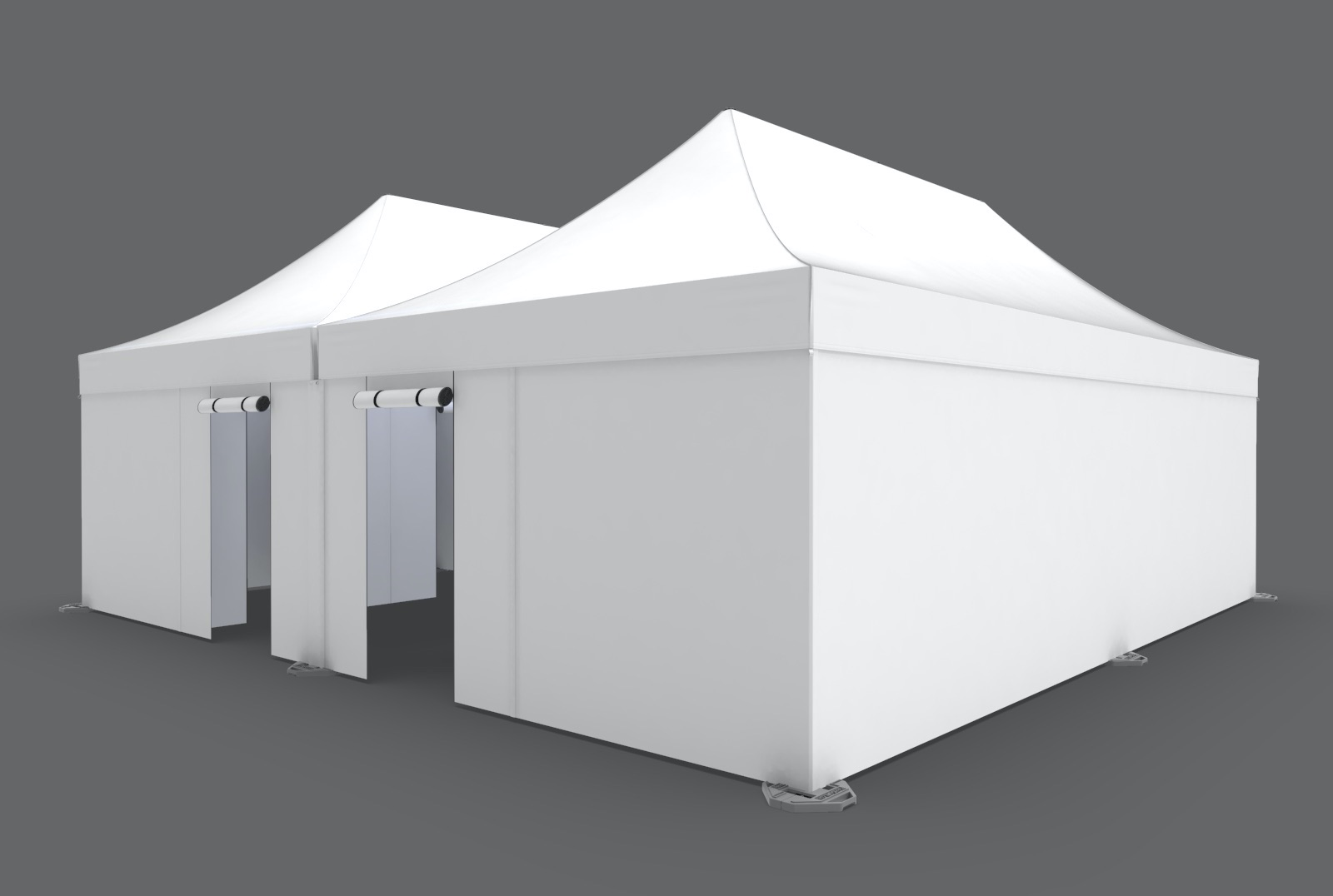 outside view of a white, two-entrance, eight-room infirmary tent