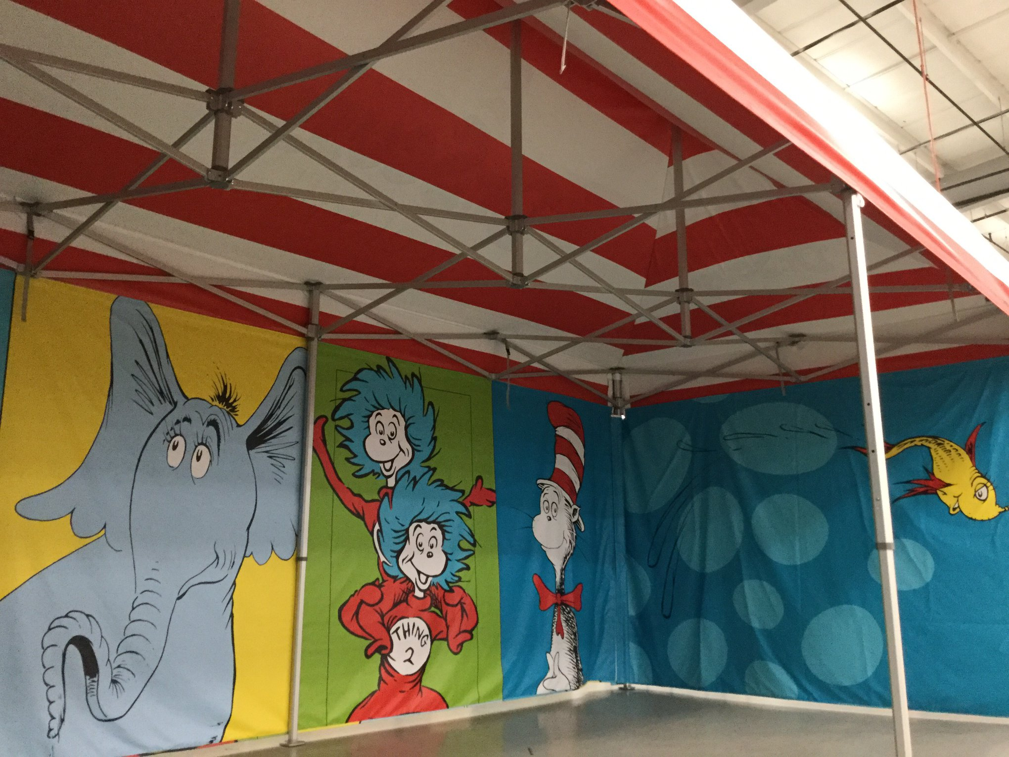 Custom printed popup canopy with backwall Dr. Seuss