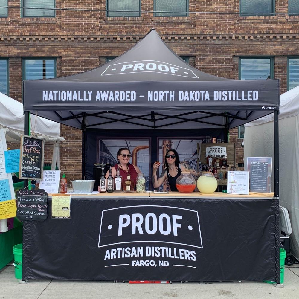 custom printed black popup tent for proof distillers