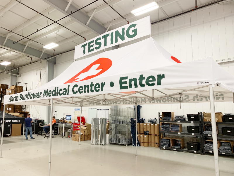 a medical testing tent for North Sunflower Medical Center