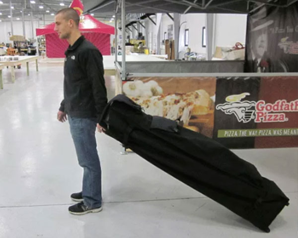 black soft case wheel kit for pop-up tent transportation