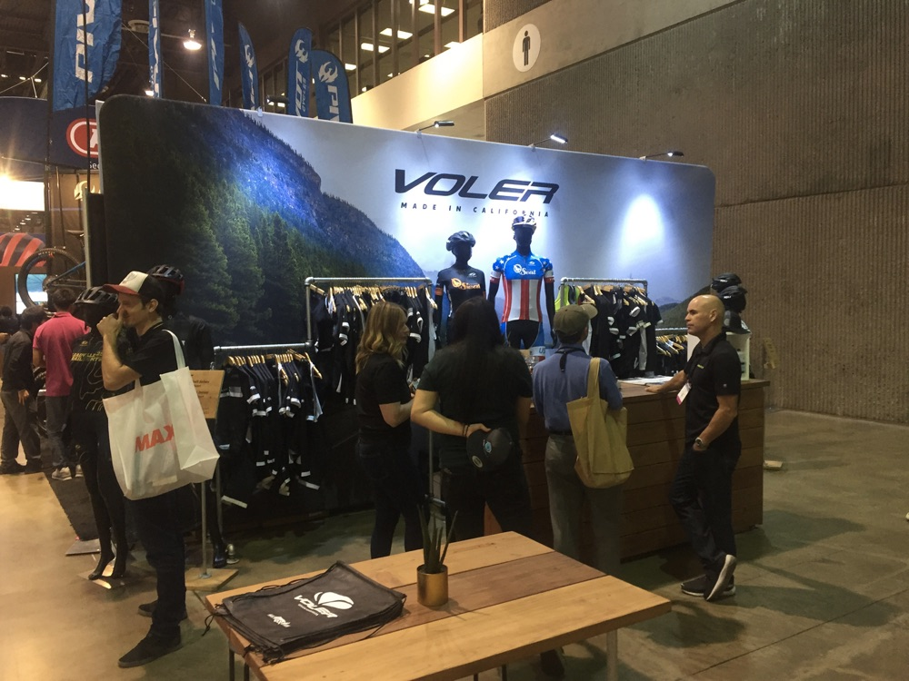 printed trade show backdrop for Voler cycling apparel