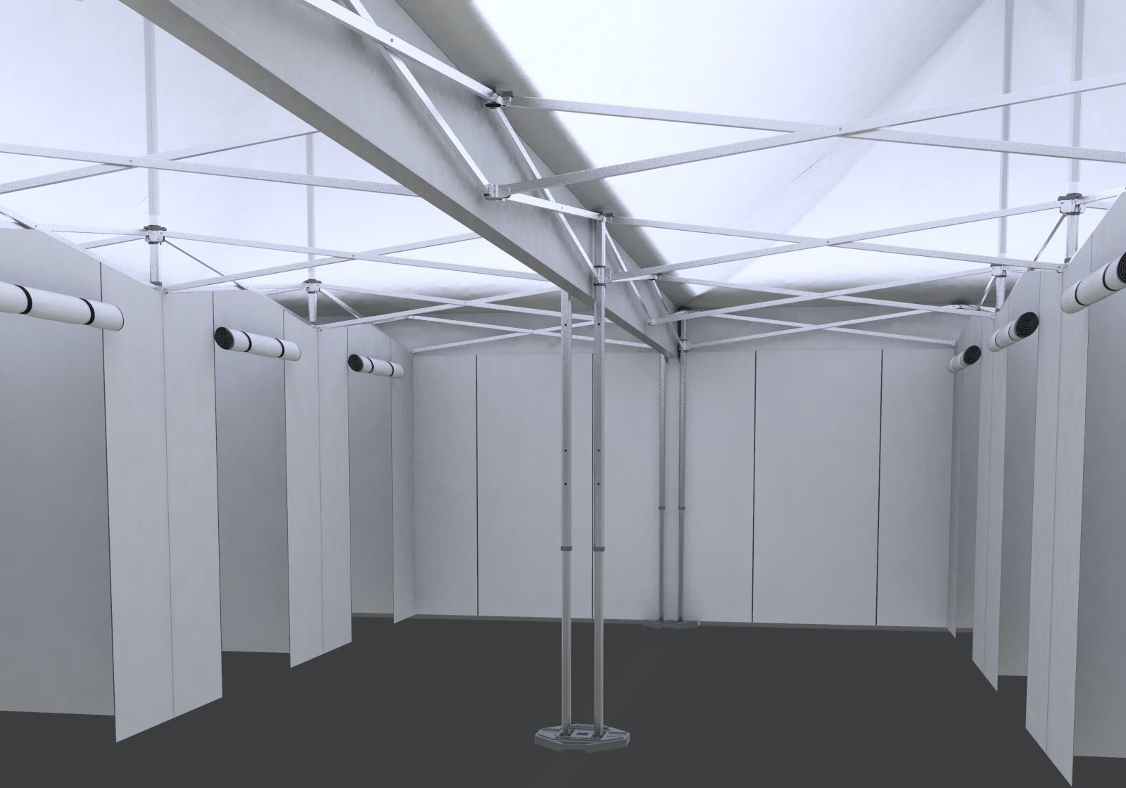 first person view inside an eight-room triage and containment infirmary tent built with an aluminum frame