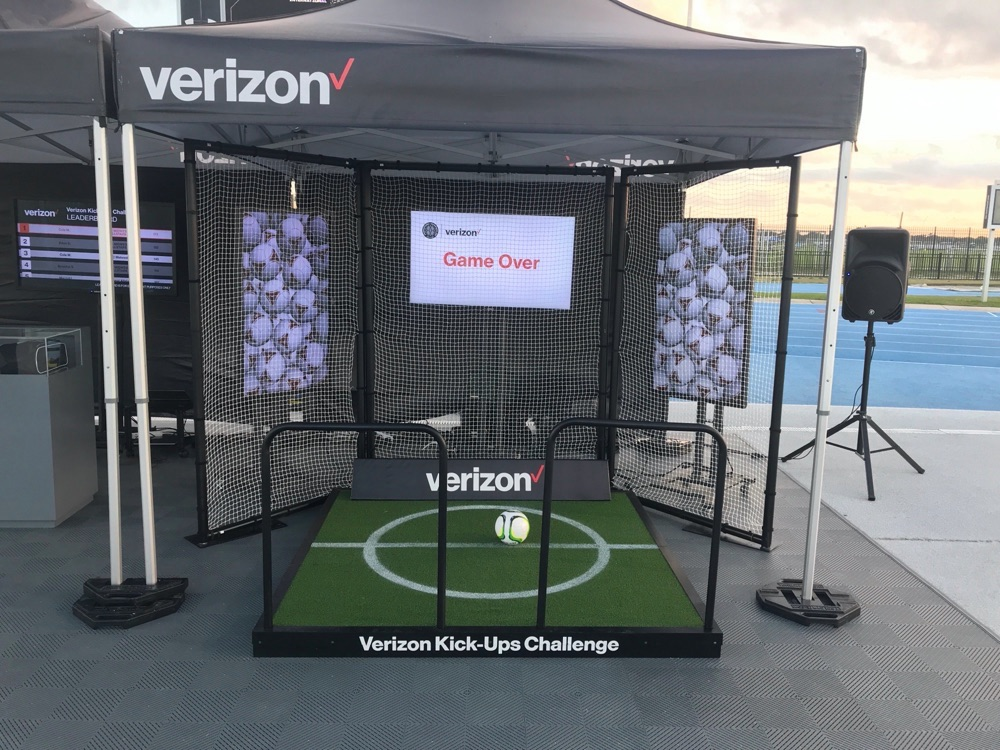 custom tent and interactive soccer experience for Verizon