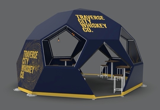 example of geodesic dome tent with custom printing
