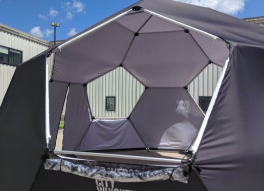 example of event dome with clear vinyl windows
