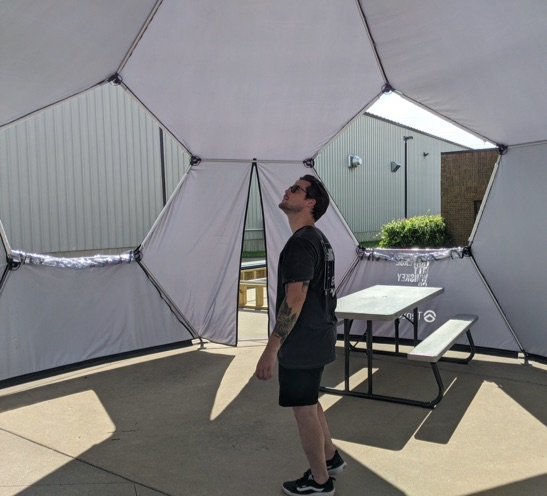 interior of a 20' geodesic event dome