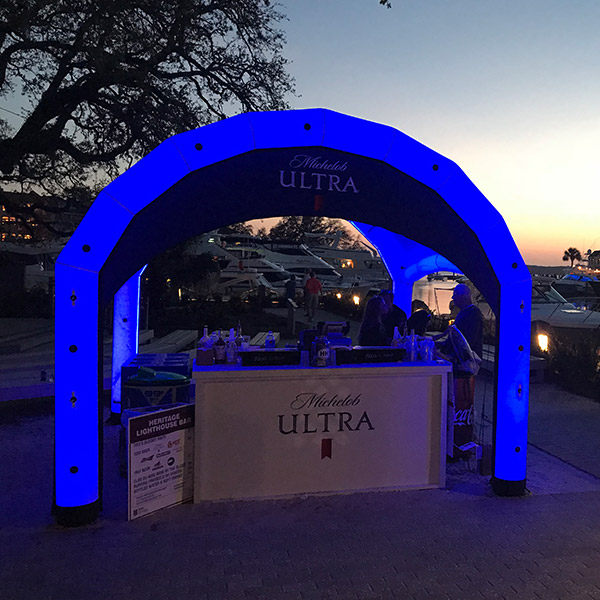 Michelob Ultra Nitrox AIRFRAME tent with blue lighting kit set-up at harbor