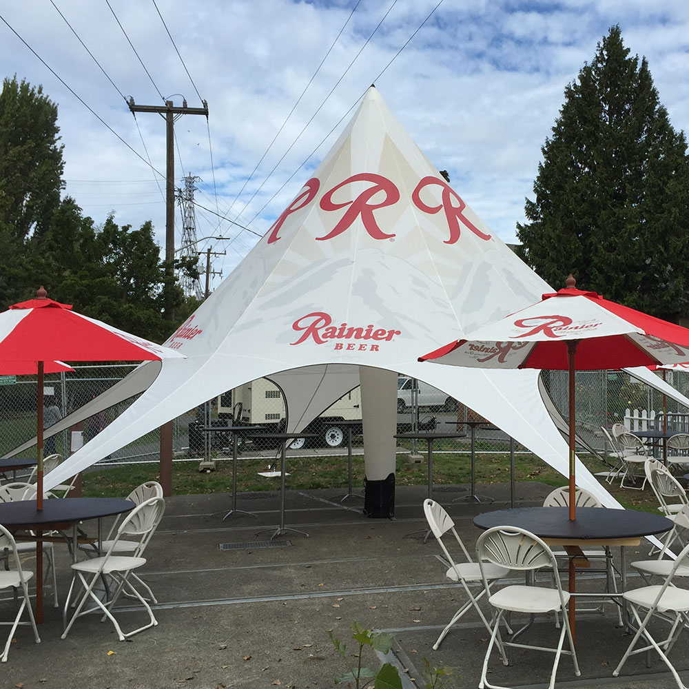 Star Lounge inflatable tent built for brands like Rainier Beer.