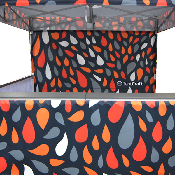 Custom vendor tent walls for gable-style canopy.