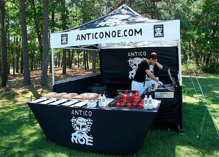 A black and white MONARCHTENT made for food vendor Antico Noe.