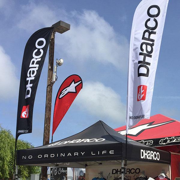 Marketing flags built for medium-duty pop-up tent