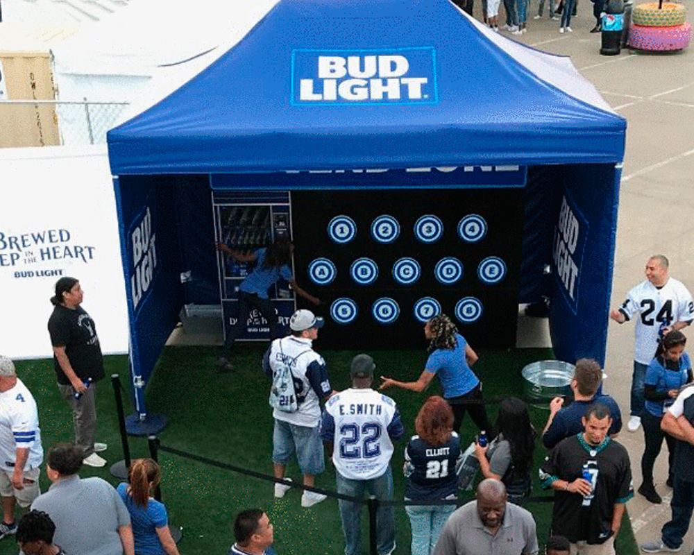 Example of a custom pop up fabrication for an interactive Bud Light experience