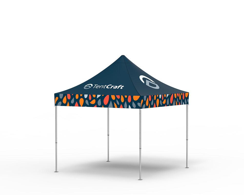 rendering of 10x10 tent with printed canopy