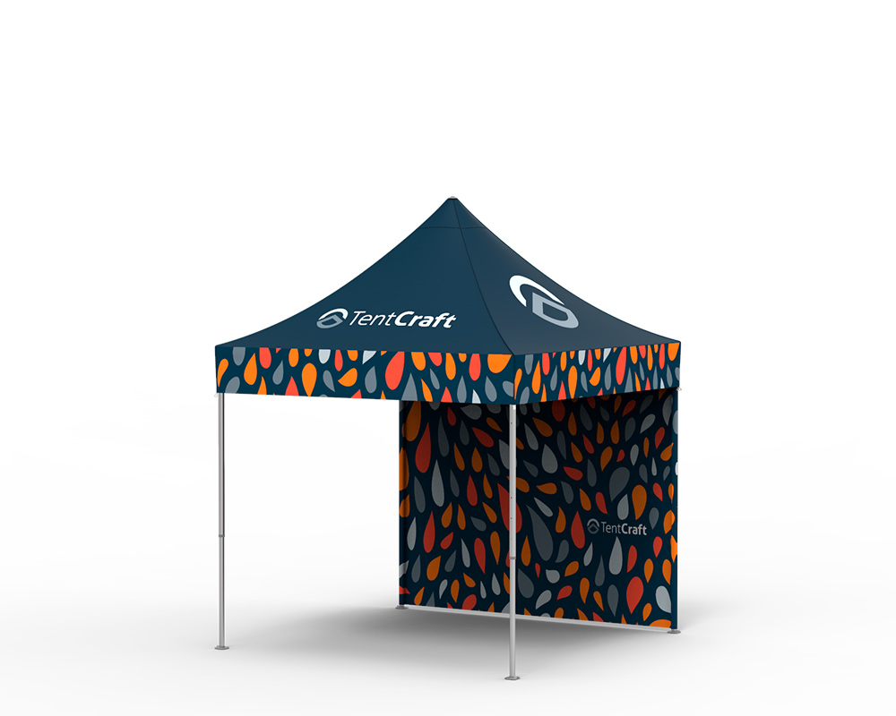 rendering of 10x10 tent with printed canopy and back wall