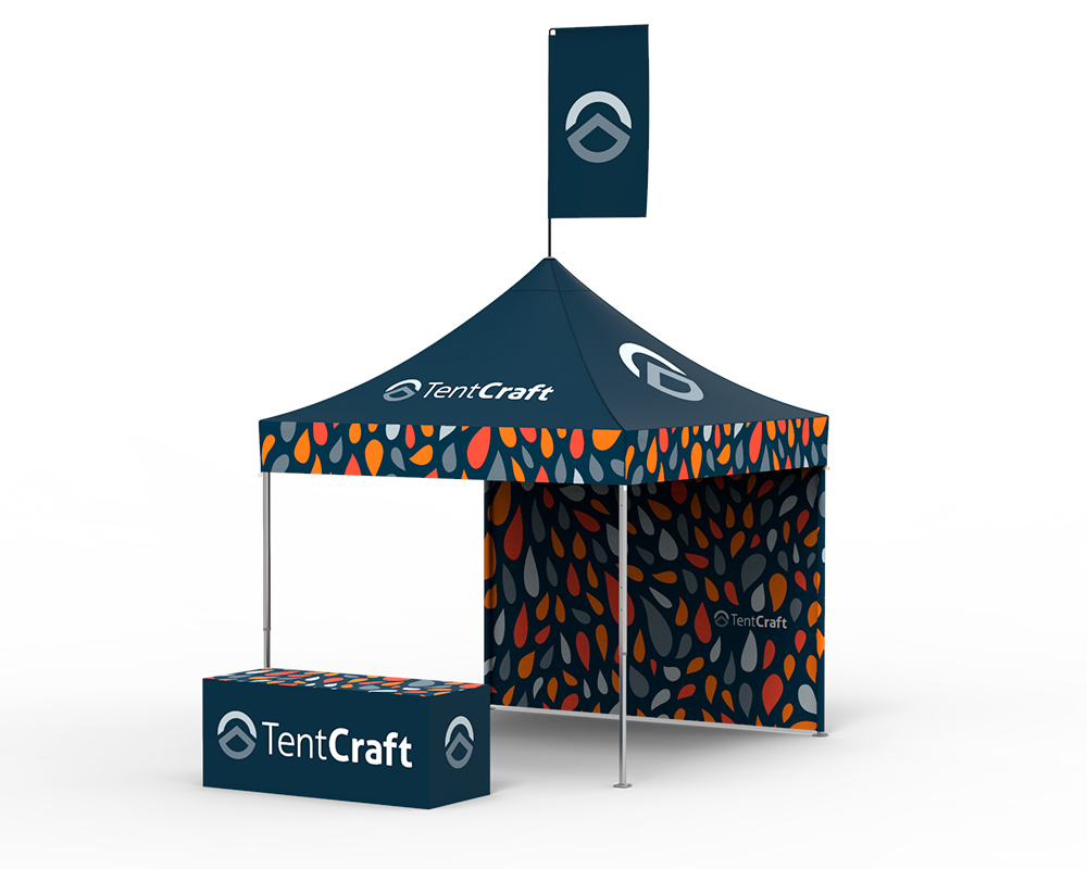 rendering of 10x10 tent with table cover and back wall