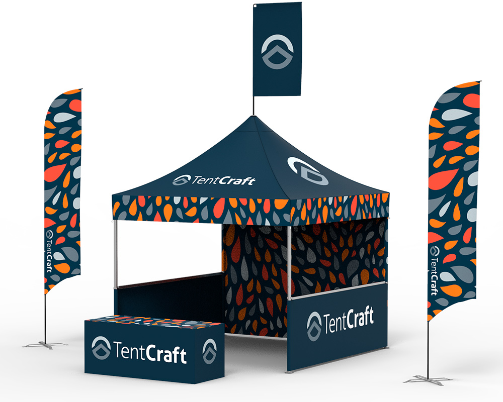 rendering of 10x10 tent with printed walls, canopy and flags