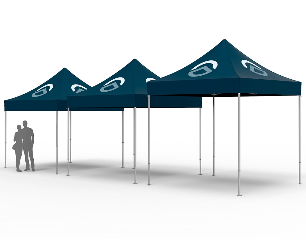 rendering of pop up tents with different head clearances