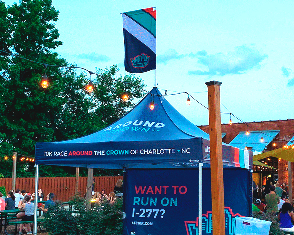example of a printed peak flag for a pop up canopy