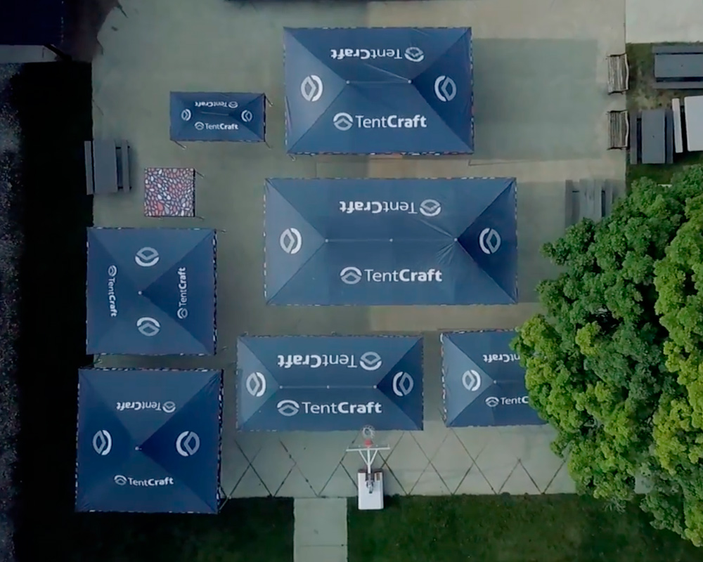 Aerial image of custom and standard pop up tent sizes