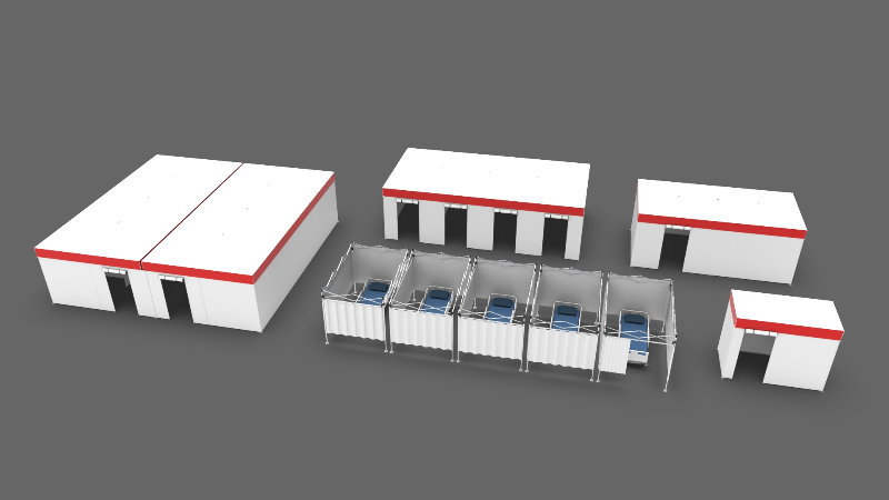 outside view of a white 13x26 emergency flat-roof medical hospital tent with roll-up entry