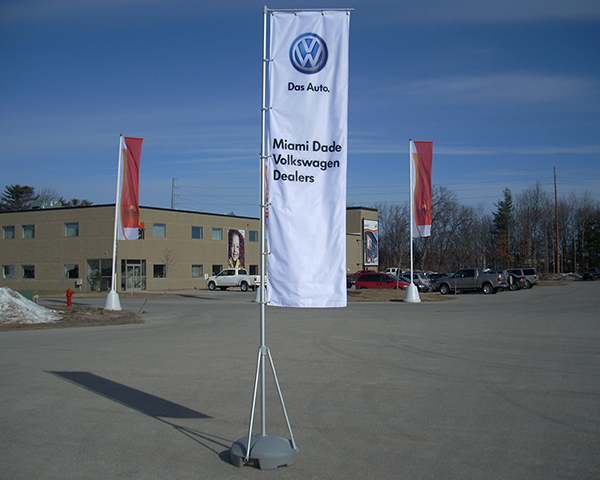 Custom printed wind dancer event flags.