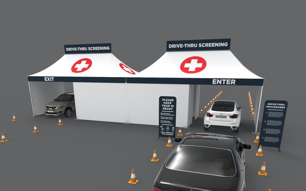 Drive-thru tents for coronavirus screening