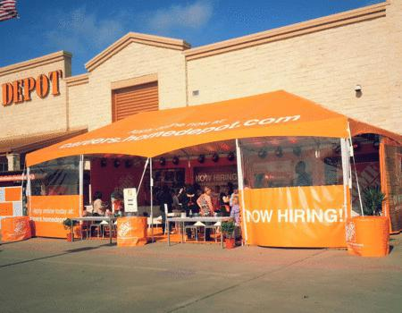 Frame tent custom made for brands like Home Depot.