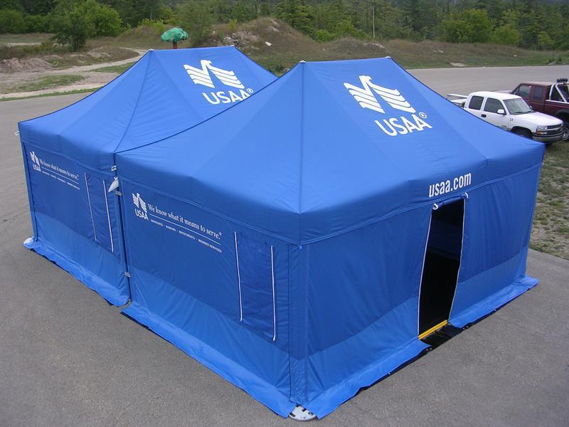 Custom printed blue USAA medical treatment tent