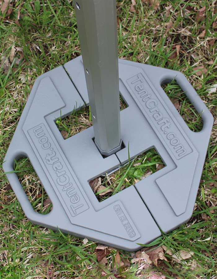 Heavy duty footplate accessories to protect your custom pop up tent against heavy winds
