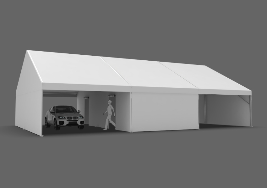 30x45 frame tent configured for drive-thru vaccinations