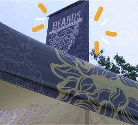 A custom peak flag created for Beards Brewery and used at beer festival.