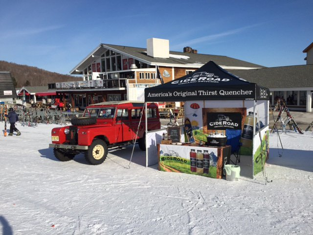 A full digital UV Printed 10x10 heavy-duty pop-up tent created for brewery festival at ski resort.
