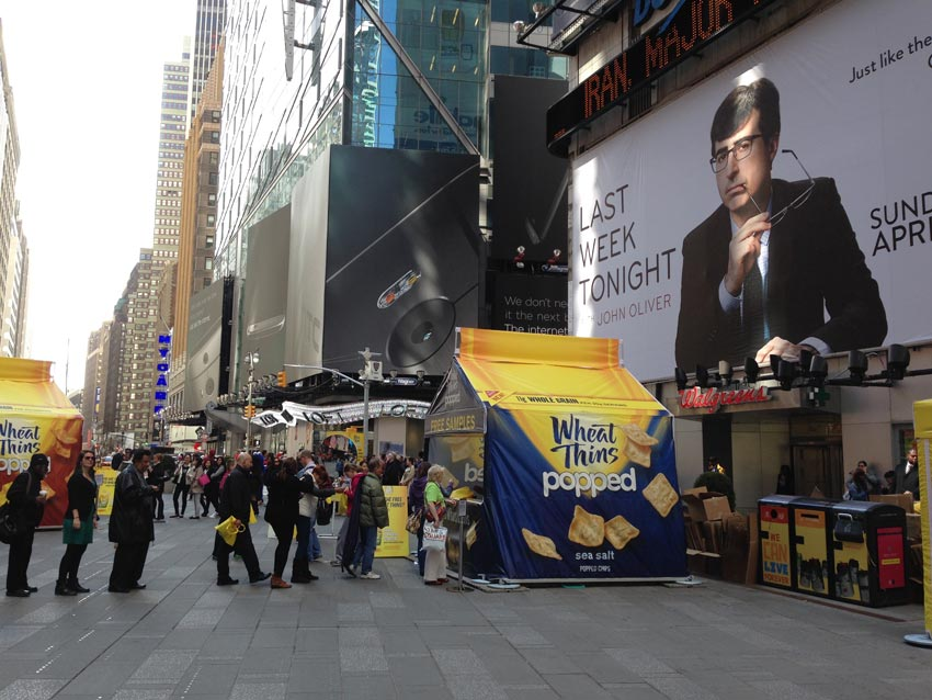 A custom pop-up tent created for the brand Wheat Thins used in Times Square for new product sampling.